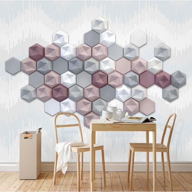 Personnalisé papier peint moderne hexagone géométrique art ...