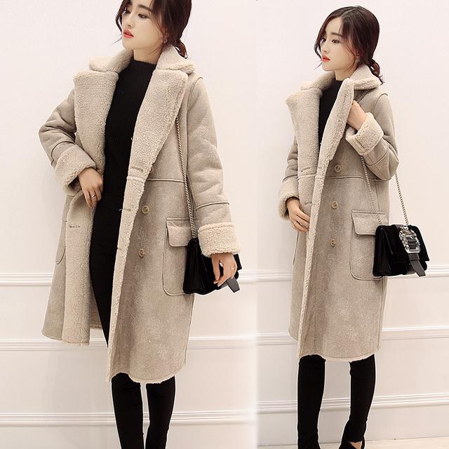 Inverno new Coreano camurça cordeiros casaco de lã das mulheres casaco longo espessamento quente casaco de algodão estudantes cor sólida parkas MZ1137