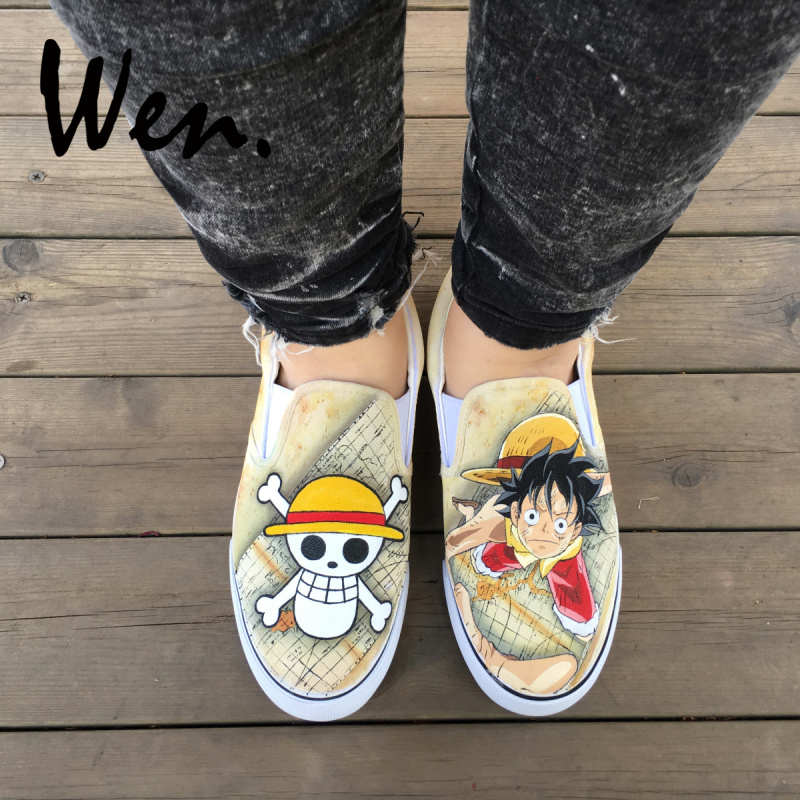 Wen One Piece Luffy Jolly Roger Design Custom Anime Hand Painted Shoes Slip On Unisex Canvas Sneakers Men Women Cosplay Shoes wen mexican style skulls totem original design hand painted shoes for men woman slip ons custom canvas sneakers