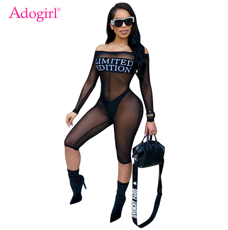 Adogirl Limited Edition Letters Print Sheer Mesh   Jumpsuit   Sexy Off the Shoulder Long Sleeve Women Rompers Knee Length Pants