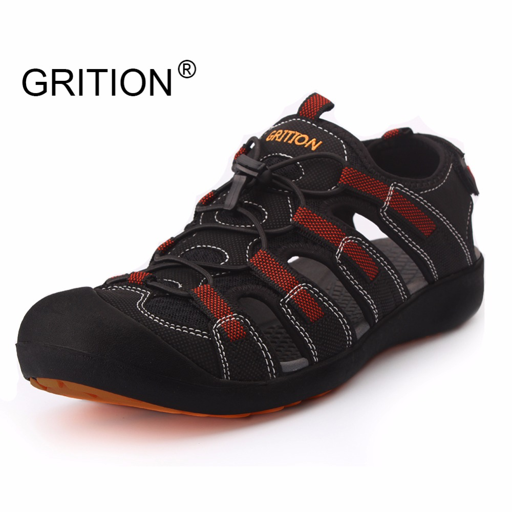 GRITION Summer Men Outdoor Sandals Hiking Trekking Shoes Sandals Quick Dry Protective Toecap Sport Walking Shoes Large Size