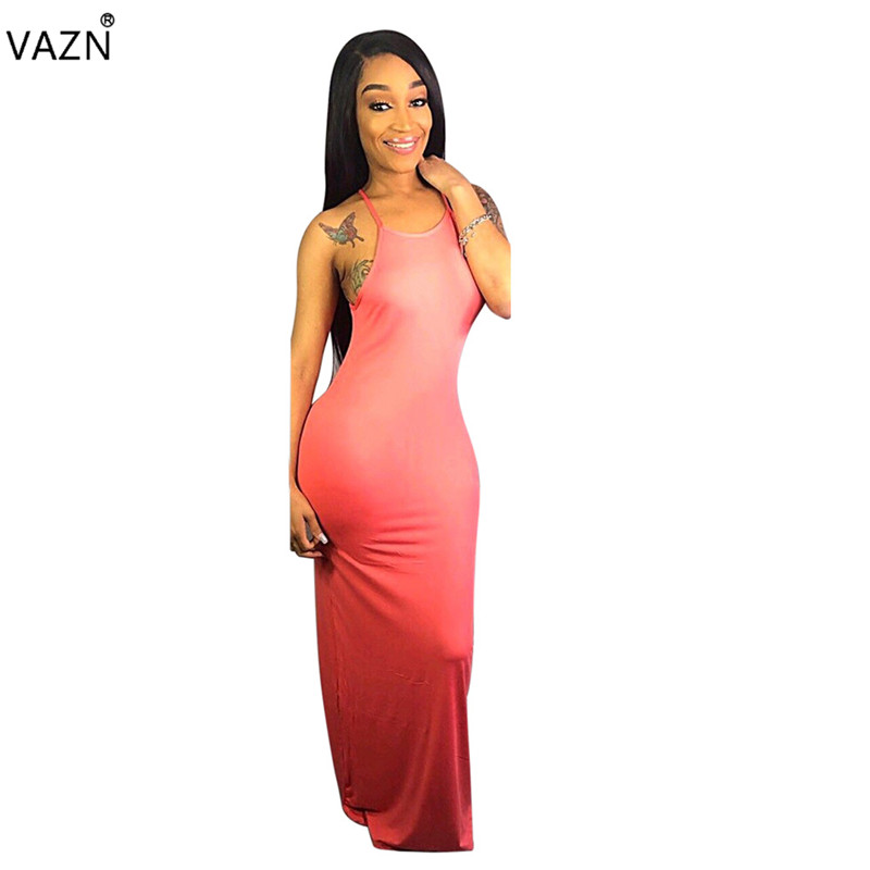 Dresses Vazn Top Quality Novelty Design 2019 Women Solid 4 Color Straight Long Dress Lady O-neck Sleeveless Hollow Out Dresses Sfy013 Strong Packing