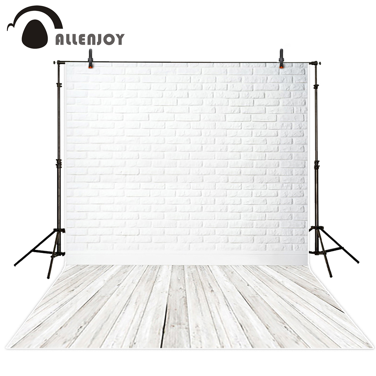 Allenjoy wall paper Photo background white painted closed brick wall closed wooden floor Background for photo backdrop fabric спицы круговые алюминиевые с покрытием 80см 2 0мм 940120 940102