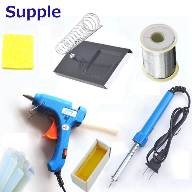 Supple 220V 60W Electric Soldering Iron Welding Tool kit With Iron Stand Desolder Pump Repair Tool Tweezers soldering station heat soldering irons soldering stand welding electric soldering iron a bf gs110d 220v 110w