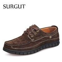 SURGUT Brand Flat Shoes Men Oxford Shoes British Fashion Suede Cow Split Leather Breathable Comfortable Business