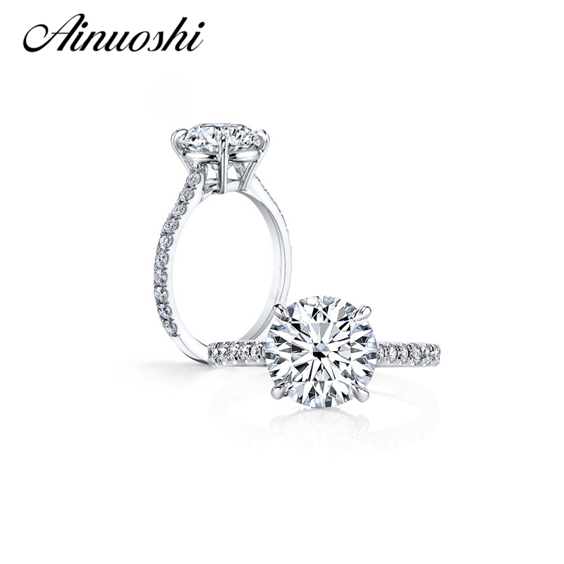 AINUOSHI 3 Carat Round Cut Zircon Engagement Ring 925 Sterling Silver Ring Party Anel Aneis Anillos for Women