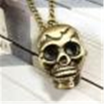 Retro Punk Skull Bronze Necklace 1