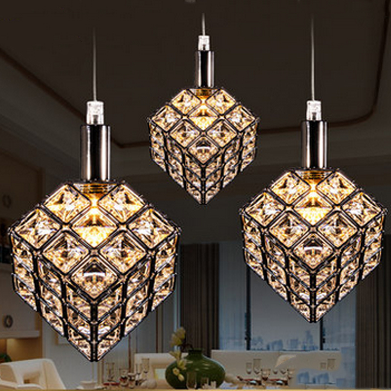 T Creative LED Restaurant Pendant Light 3 lights Simple Fashion Crystal Lamps For Home Livingroom Bedroom DHL Free