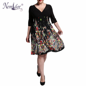 Women Casual Half Sleeve A-line Swing Dress Retro Stretchy V-neck Plus Size Midi Dress 1