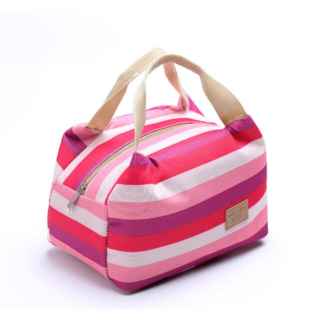 Food Lunch Box Picnic Bags Thermal Stripe Tote Bag Leisure Women Insulated Cooler Bags Outdoor Camping Accessories For Kids