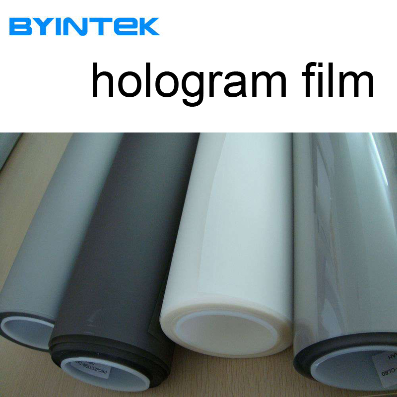BYINTEK Top Grade Advertise Hologram Holographic Rear Adhesive Film Projection 3D Screen Film for Window Shop Display Exhibition 180 16 9 fast fold front and rear projection screen back