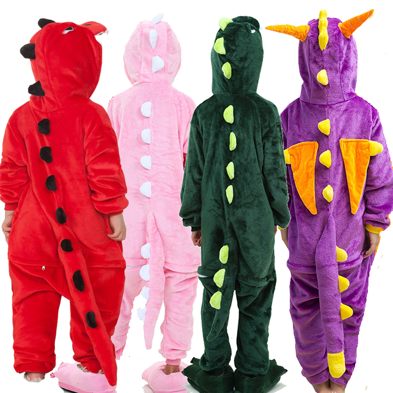 Animal-Pajamas Sleeper Dinosaur Cat Spiderman Flannel Kigurumi Kids Children for Cartoon