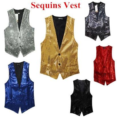 2016 New Fashion Leisure Men Vests suits slim Sequins gold red black White gray  Dj stage men Sequins Vests free shipping