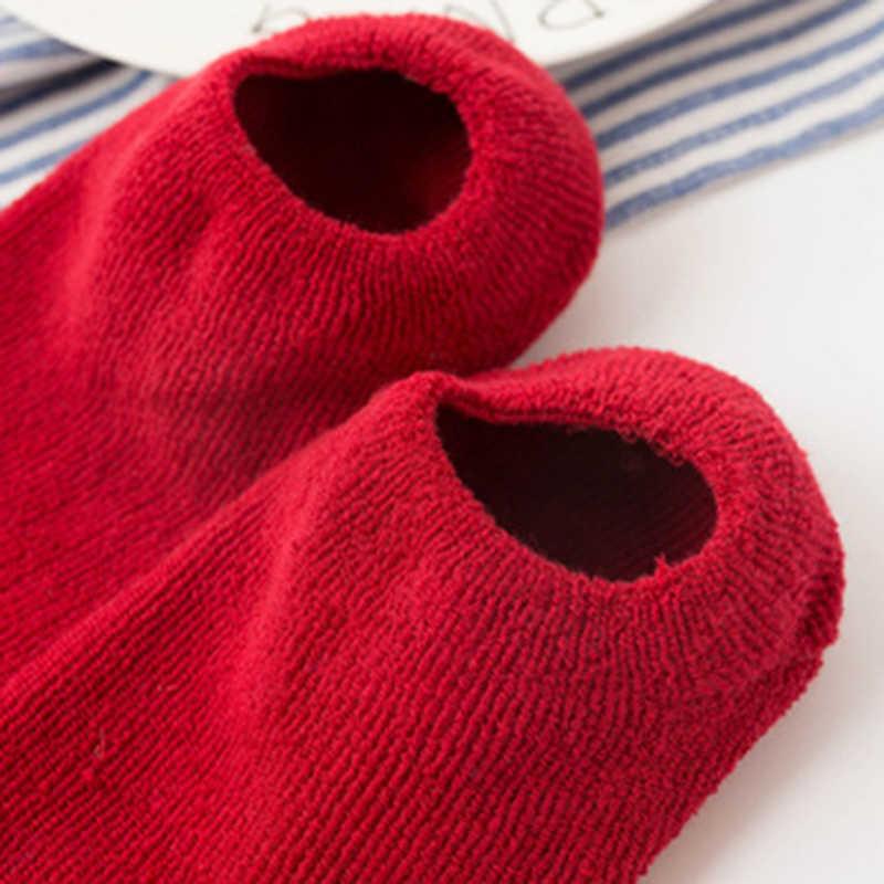 2018 ฤดูใบไม้ร่วงฤดูหนาวผ้าฝ้ายถุงเท้าเด็กสาวถุงเท้าการ์ตูนน่ารัก Candy สี Anti-slip ทารกแรกเกิดถุงเท้าเด็กหนาถุงเท้า sokken
