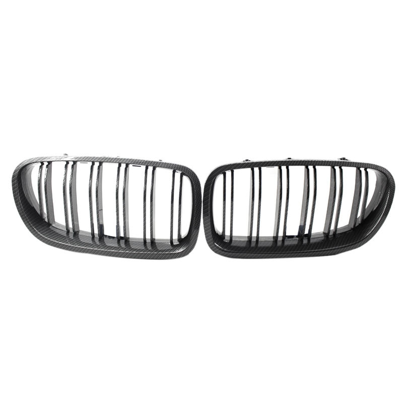 Front Hood Kidney Grille Bumper Grills F10 Grille,Carbon Fiber Front Replacement Kidney Grill For-Bmw F10 F18 5 Series 2010-20