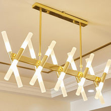 Modern minimalist dining chandelier Rectangular living room LED lighting Creative personality art LED lights led lighting lamps(China)