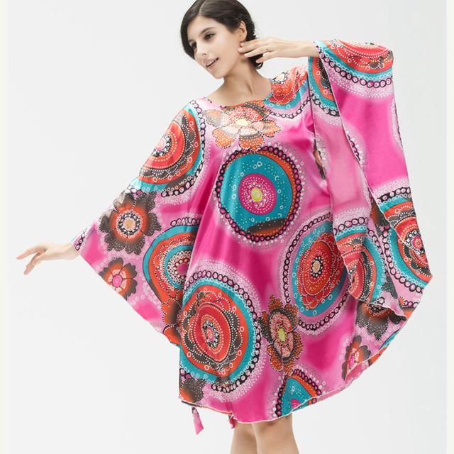 AFUMAN lingerie Solto Lazer desgaste faux seda camisola feminina tamanho grande camisa bat sleepwear roupão característica camisola