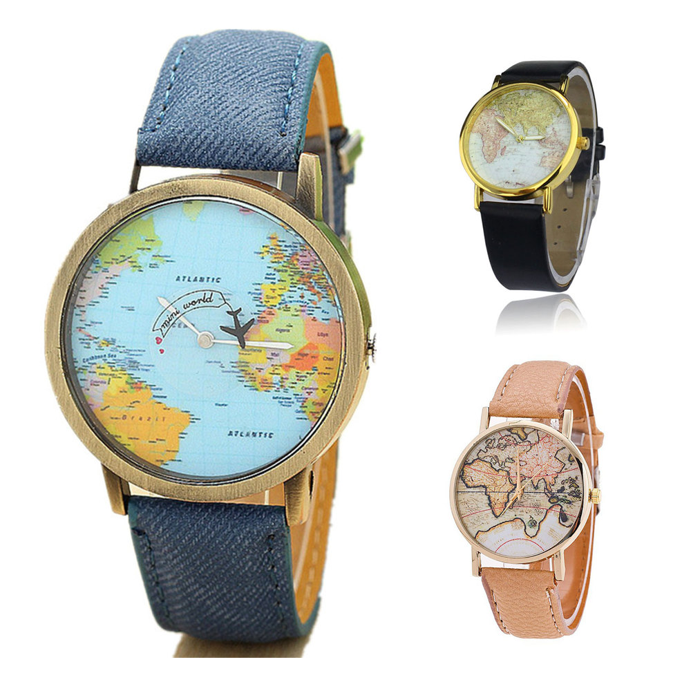 Quartz watch world travel map watches - retro wrist watch different styles and colours