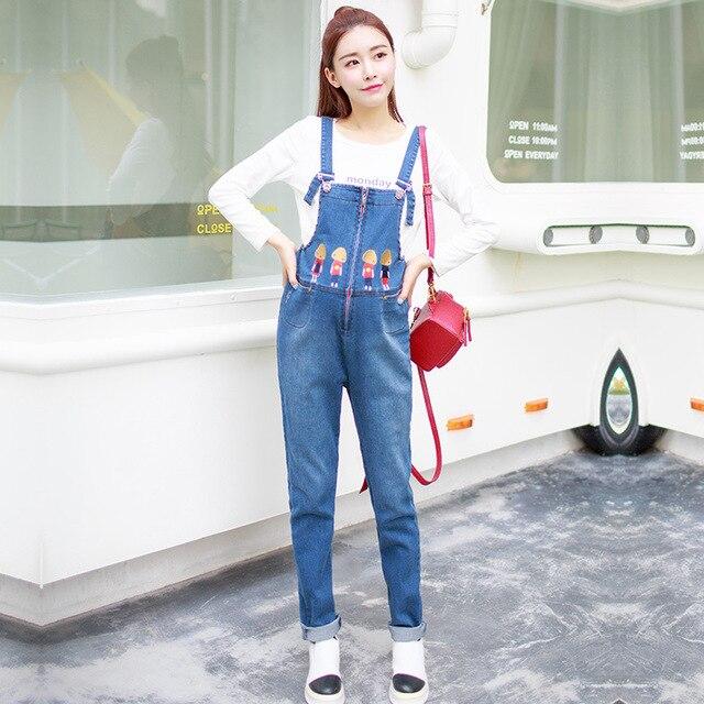 f03508f3c Diseñador de la marca de Maternidad Suelta Overol de Mezclilla Jeans De  Moda de Dibujos Animados