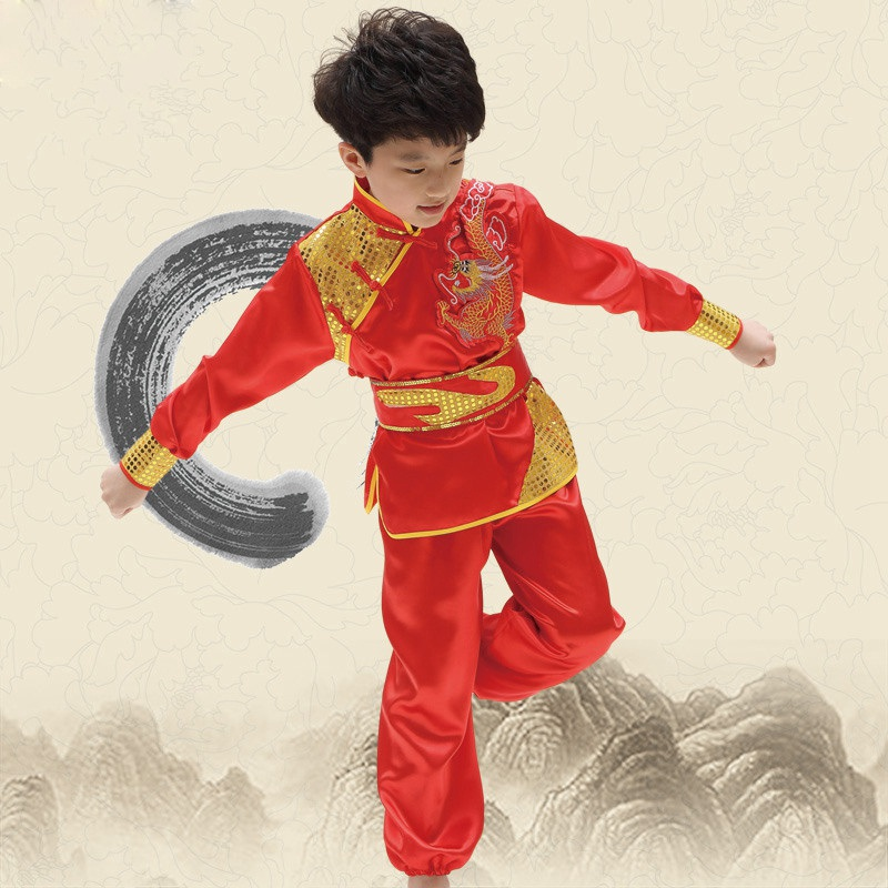 Best Selling Kids Martial Arts Costume Dragon Pattern Kung Fu Clothes Comfy Wu Shu Clothing Children