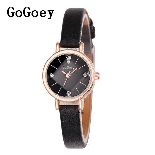 7d6834014 المبيعات الساخنة Gogoey العلامة التجارية رقيقة ساعات جلد النساء السيدات  كريستال اللباس ساعات يد كوارتز Relojes موهير go053