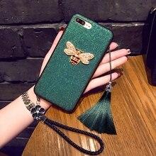 Модный Зеленый 3d пчела с ремешком, чехол для телефона IPhone X Xs Max Xr 10 8 7 6 6s Plus, роскошный чехол из искусственной кожи для девочек, Coque Fundas