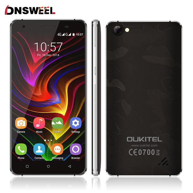 "Original oukitel mtk6737 c5 pro teléfono móvil android 6.0 4g lte quad core 5 ""2 GB + 16 GB 8MP Pantalla 2.5D Anti-Choque CNC Caso Libre"