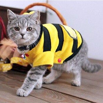 Cute Bees Cat Clothes Soft Fleece 4