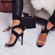 TINGHON  NEW Cross Bandage High Heels Sandals Women Pumps Thin Heel Lace-Up Summer Shoes Fashion Open Toe PVC
