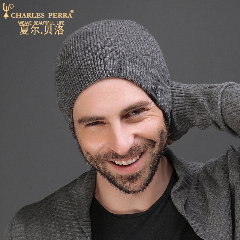 Charles Perra Men Knitted Hats Winter Double Layer Thicken Wool Hat Fashion Casual Male   Skullies     Beanies   Plus Velvet 3317