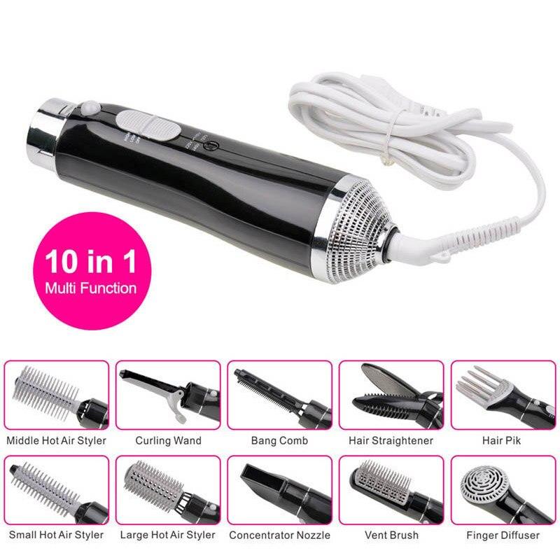 10 En 1 multifuncional profesional pelo eléctrico secador de volumen Styler estilismo peine del cepillo 3839