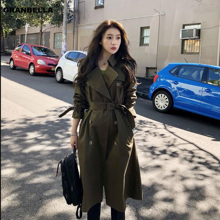 British Style New Fashion 2019 Autumn Casual Double breasted Simple Classic Long   Trench   coat with belt Chic Female windbreaker