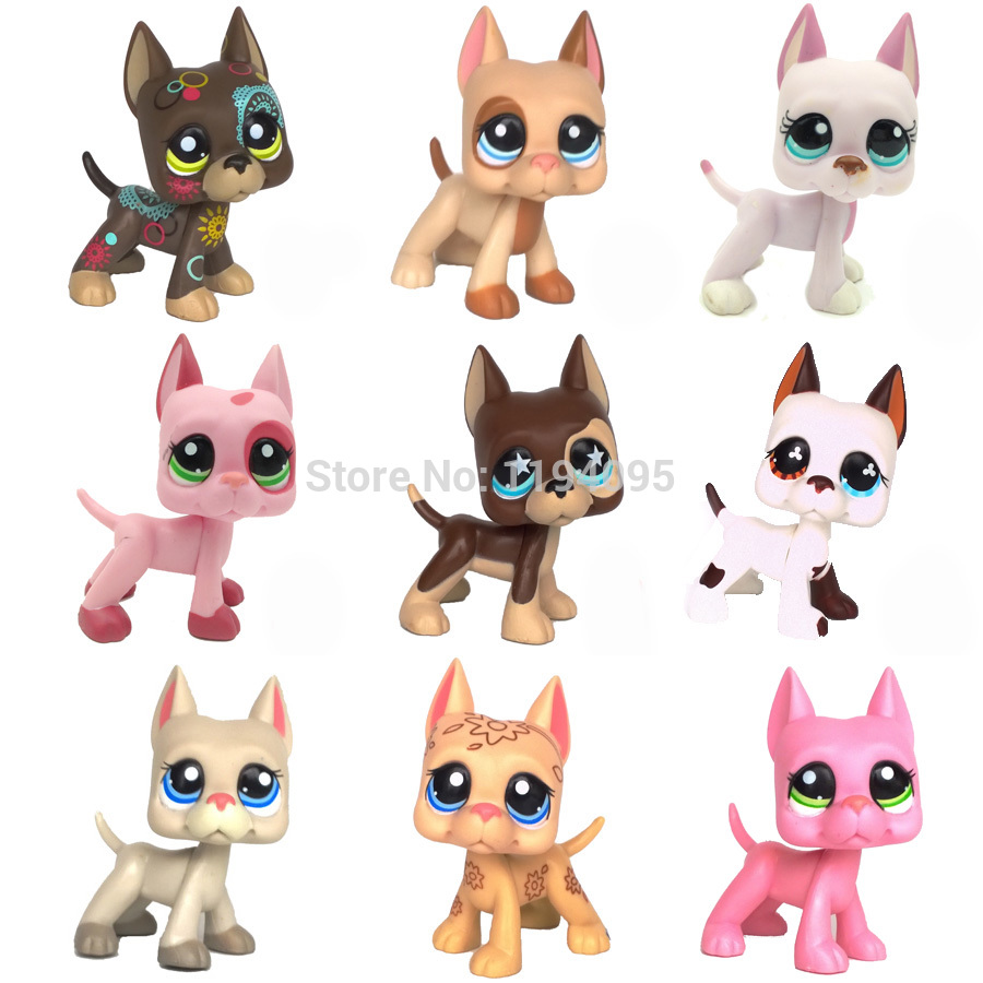GREAT DANE collection rare old dog animal pet shop lps toys pet great dane 2598 pink dog red eyes