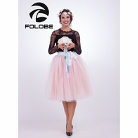 FOLOBE White&peach 65cm Long Ball Gown Tutu Tulle Skirts Women Pleated Casual Lolita Petticoat faldas mujer saias Jupe
