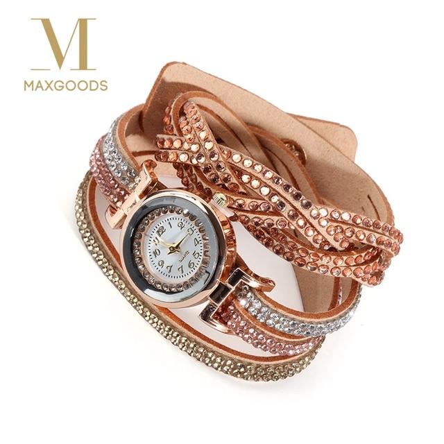 Luxury Crystal Women Gold Bracelet Watches Quartz Wristwatch Rhinestone Watches