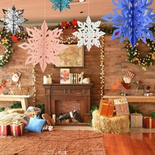 6pcs/lot Frozen Party  Large Snowflake Shape Hang Paper Garland Supplies Christmas New Year Wedding Scene Decoration