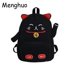 Menghuo 2019 Cartoon Pink Cat Backpack School Bags Cute Canvas Women Schoolbag Girls Travel Shoulder Bag Mochilas