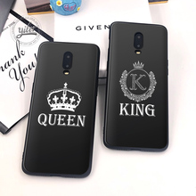 2019 New King Queen For Case Oneplus 6T 7 Cover Black Soft for Phone 1+6T Capa cover