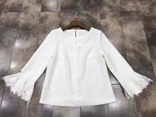 2017 Sale Solid O-neck Full Flare Sleeve Unicorn Tops T Shirt Women New Women's Clothing Concise Joker Lace Horn Sleeve