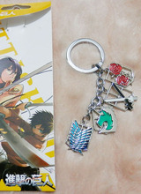 wholesale Japanese Anime Attack on Titan Eren Rivaille Metal Keychains Stainless Steel necklace Pendants accessories