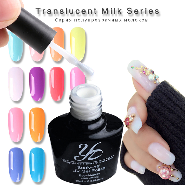 Yiday Translucent Milk UV Gel Nail Polish Varnish Soak Off Lak ...