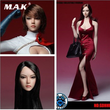 SDH002 1/6 Scale Asia Female Brown Curls black straight short Hair Head Sculpt Long Fit for 12 inches Femal body