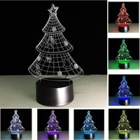 Christmas Tree 3D Illusion Night Lights 7 Colors Table Lamp Luminaria USB Light For Bedroom Decorative