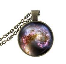 Spiral galaxy necklaces nebula pendant long chain statement necklace space jewelry glass cabochon neckless for men/womenHZ1