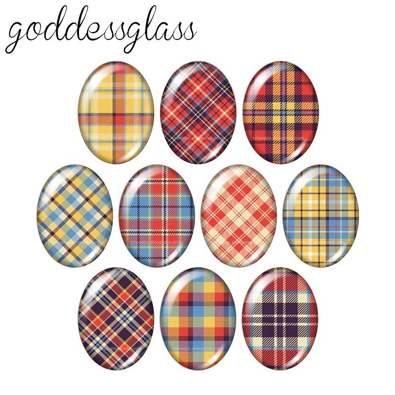 New Plaid patterns beauty 13x18mm/<font><b>18x25mm</b></font>/30x40mm <font><b>Oval</b></font> photo glass <font><b>cabochon</b></font> demo flat back Making findings TB0016 image