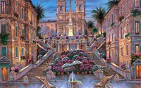 24X36 INCH / ART SILK POSTER / Paintings R The Spanish Steps Italy Rome stairs fountain flowers palm trees night