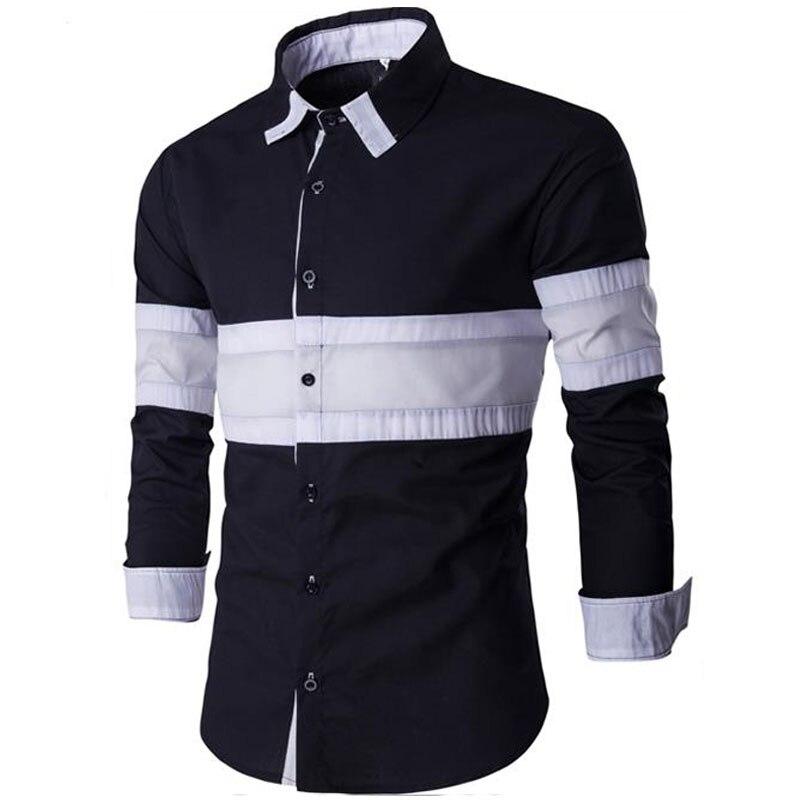 Brand 2017 Dress Shirts Mens Shirt Slim Fit Male Shirts Men Shirt Two Color Stitching Heren Hemden Camisa Masculina SDASX