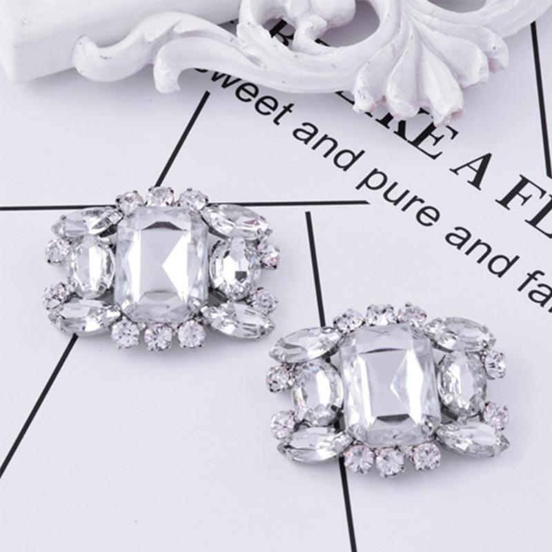 EYKOSI 2Pcs Rhinestone Alloy Glass Shoe Clips Elegant Ornate Buckles Fashion Decoration 10B00359