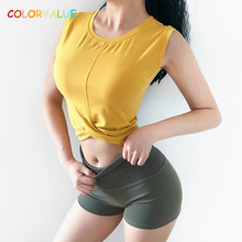 Colorvalue Slim Fit Twisted Design Workout Fitness Crop Top Women Breathable Solid Gym Training Sport Tank Tops Running Vest недорого
