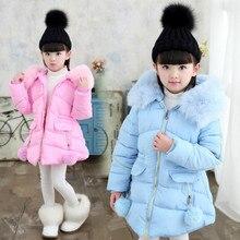 Коллекция года, детское пальто с мехом для девочек русская зимняя куртка для девочек-подростков, теплая плотная хлопковая стеганая длинная корейская детская одежда с капюшоном